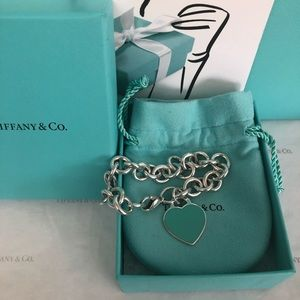 Tiffany & Co. Enamel Heart Tag Bracelet